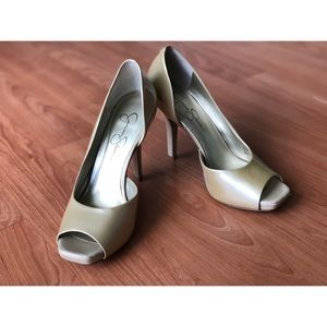Jessica Simpson open-toed high heel shoes.